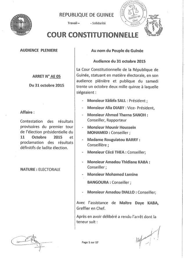 Arrêt de la Cour constitutionnelle proclamant les résultats définitifs de la présidentielle