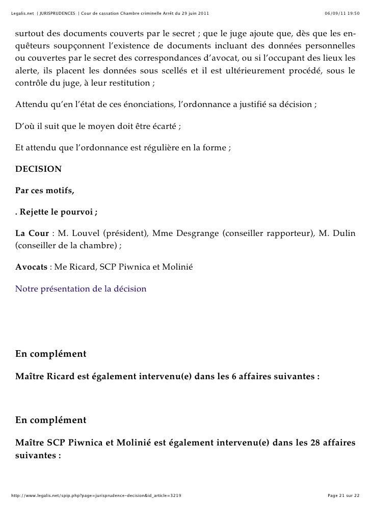Cour de cassation chambre criminelle arr t du 29 juin 2011 - Jurisprudence cour de cassation chambre sociale ...