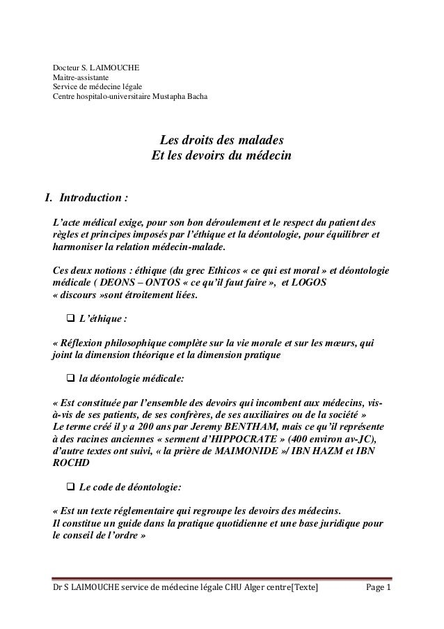 Dr S LAIMOUCHE service de médecine légale CHU Alger centre[Texte] Page 1 Docteur S. LAIMOUCHE Maitre-assistante Service de...