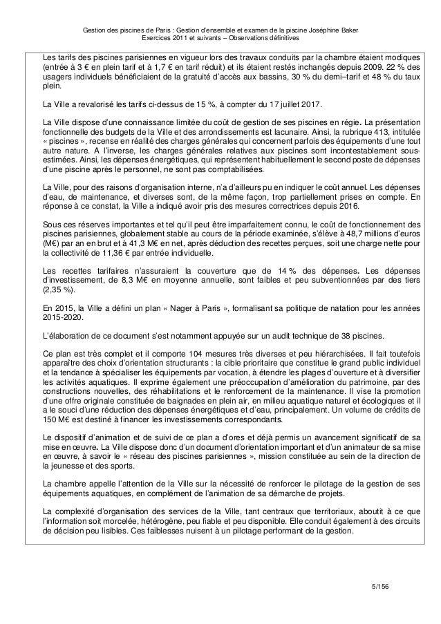 Cour Des Comptes Gestion Des Piscines De Paris