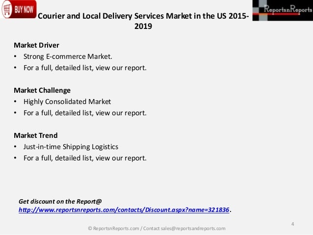 courier and local delivery services mar The courier and local delivery services industry is expected to build on momentum from the past five years moving  this report on couriers & local delivery services:.