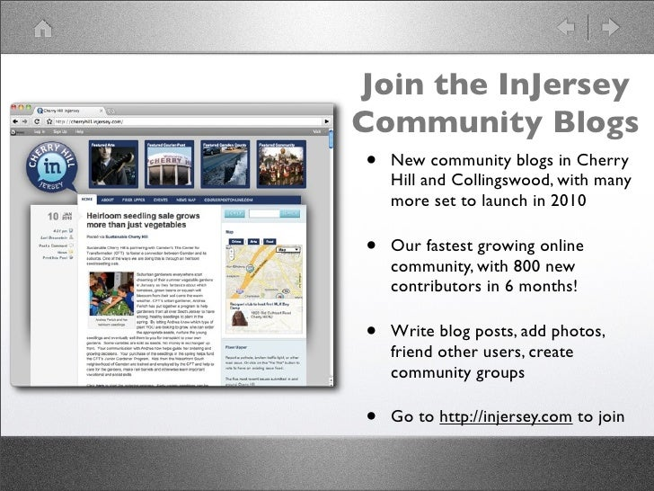 Join the InJersey Community Blogs  • New community blogs in Cherry      Hill and Collingswood, with many      more set to ...