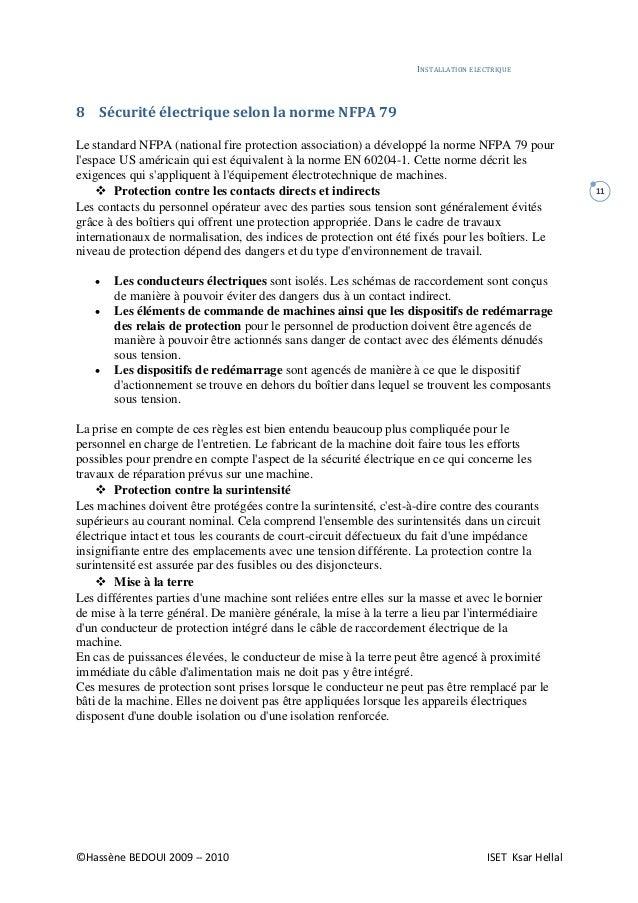 Cour installation electrique bedoui iset ksar hellal - Indice de protection electrique ...