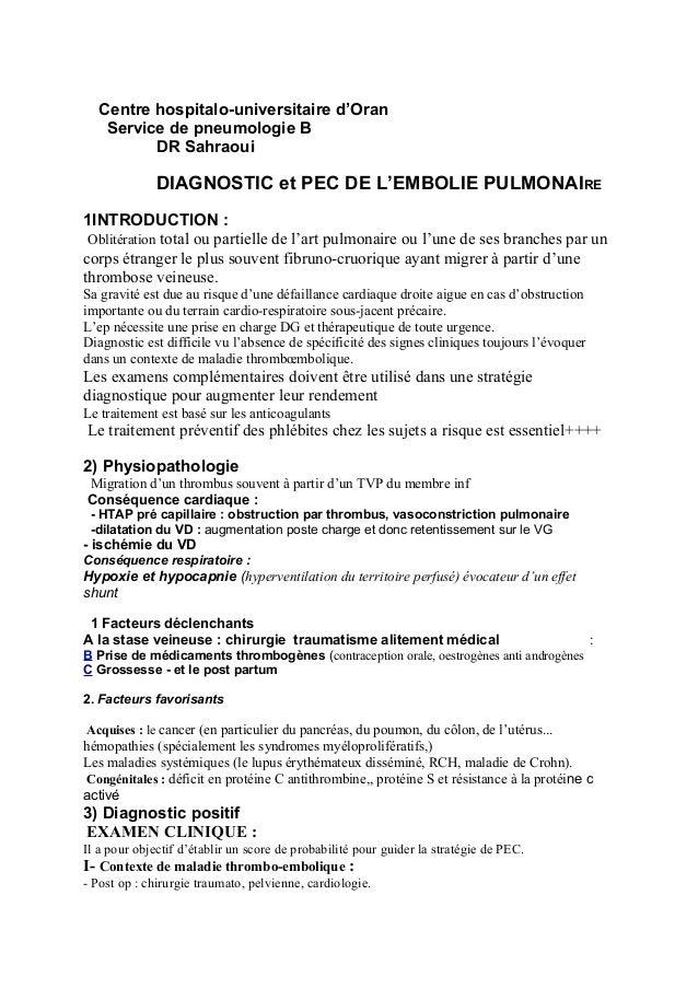 Centre hospitalo-universitaire d'Oran Service de pneumologie B DR Sahraoui DIAGNOSTIC et PEC DE L'EMBOLIE PULMONAIRE 1INTR...