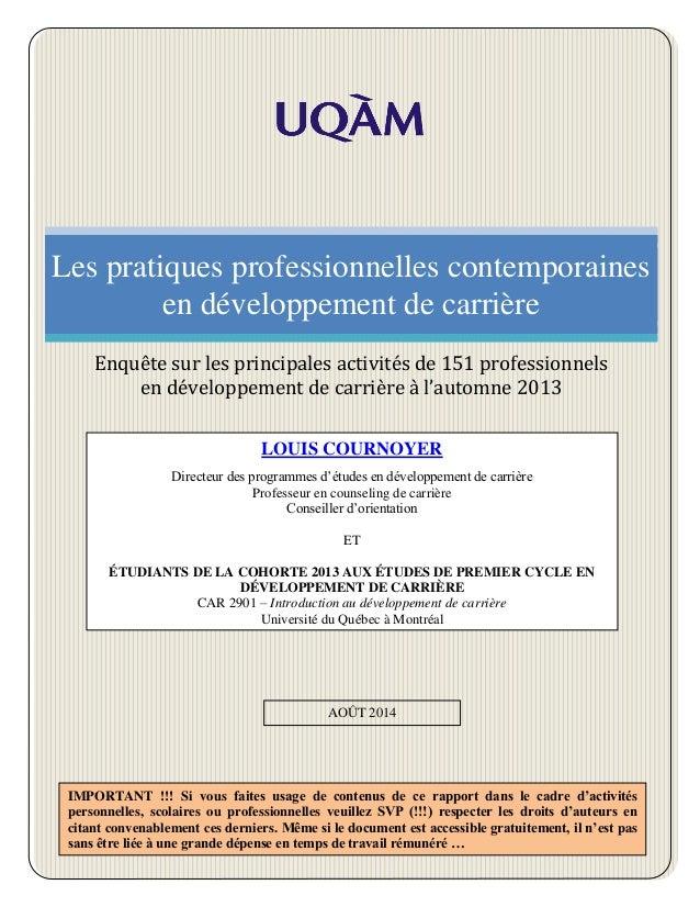 Les pratiques professionnelles contemporaines en développement de carrière Enquête sur les principales activités de 151 pr...