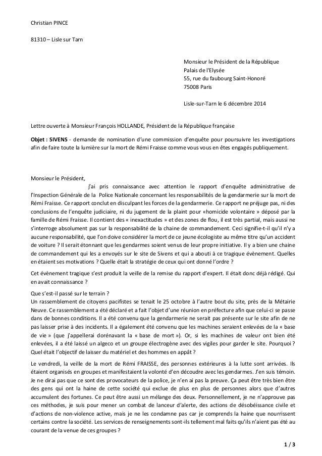 1 / 3  Christian PINCE  81310 – Lisle sur Tarn  Monsieur le Président de la République  Palais de l'Elysée  55, rue du fau...