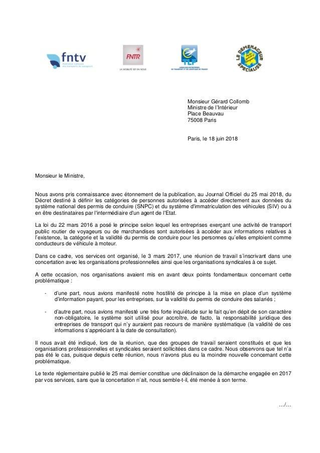 Monsieur Gérard Collomb Ministre de l'Intérieur Place Beauvau 75008 Paris Paris, l...