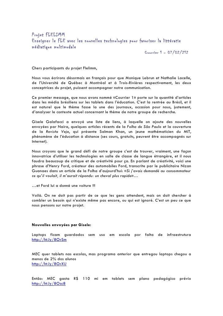 Projet FLELIMMEnseigner le FLE avec les nouvelles technologies pour favoriser la littératiemédiatique multimodale         ...