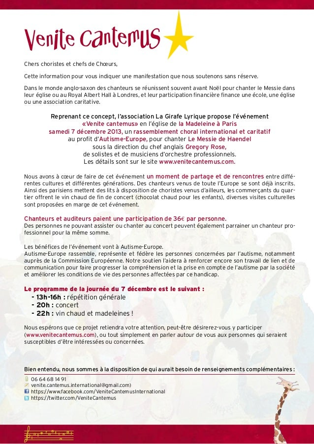Courrier Choristes Venite Cantemus 2013