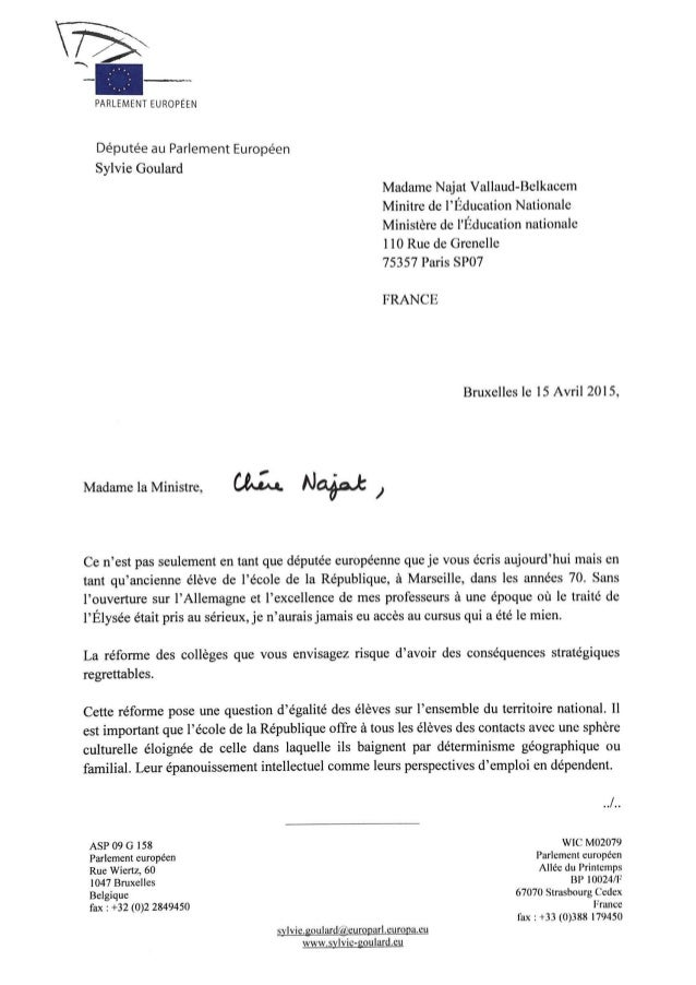 Lettre de Sylvie Goulard à Mme Najat Vellaud-Belkacem