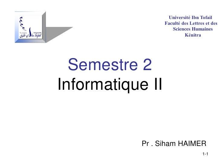 Université Ibn Tofail                  Faculté des Lettres et des                     Sciences Humaines                   ...