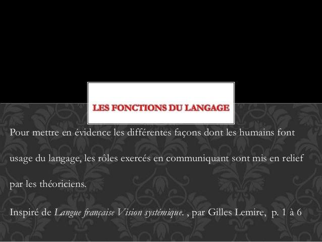 LES FONCTIONS DU LANGAGE Pour mettre en évidence les différentes façons dont les humains font usage du langage, les rôles ...
