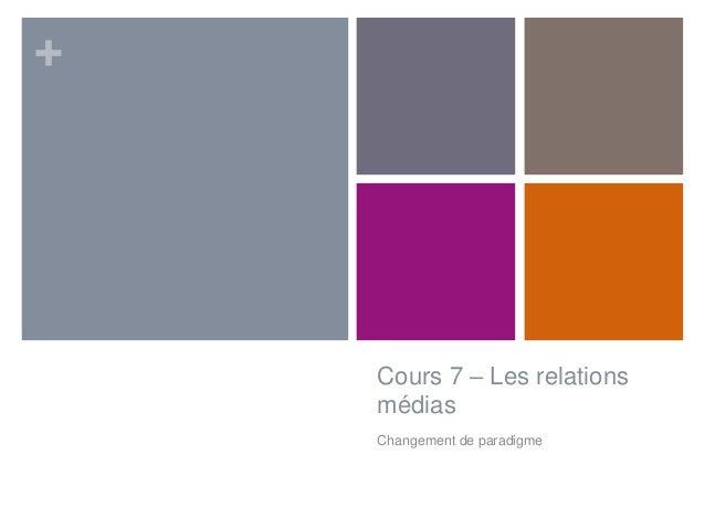 +  Cours 7 – Les relations médias Changement de paradigme