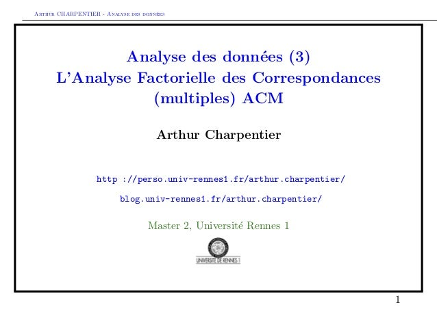 Arthur CHARPENTIER - Analyse des donn´ees Analyse des donn´ees (3) L'Analyse Factorielle des Correspondances (multiples) A...