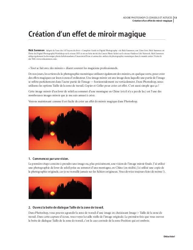 Cours adobe photoshop cs v8 0 fr conseils et astuces for Outil miroir photoshop