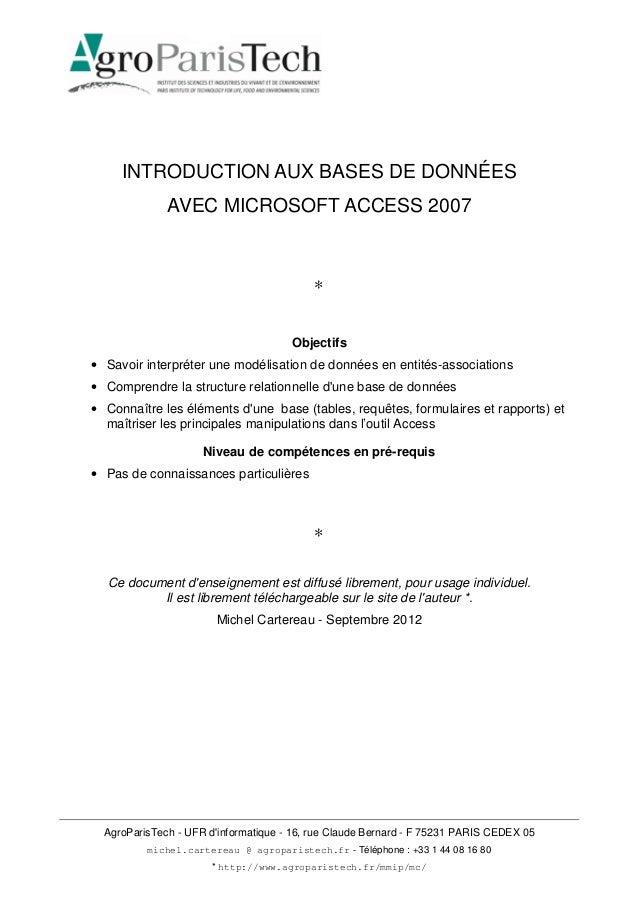AgroParisTech - UFR d'informatique - 16, rue Claude Bernard - F 75231 PARIS CEDEX 05 michel.cartereau @ agroparistech.fr -...