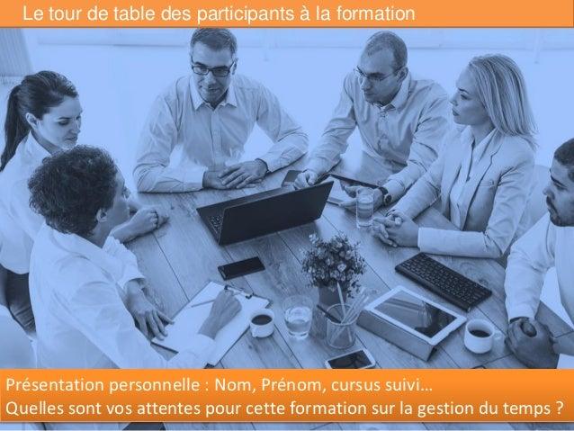 Le tour de table des participants à la formation 2 Présentation personnelle : Nom, Prénom, cursus suivi… Quelles sont vos ...