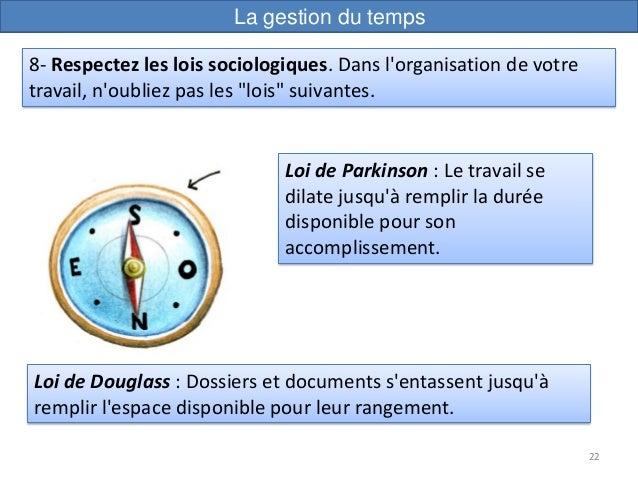 22 Loi de Parkinson : Le travail se dilate jusqu'à remplir la durée disponible pour son accomplissement. 8- Respectez les ...