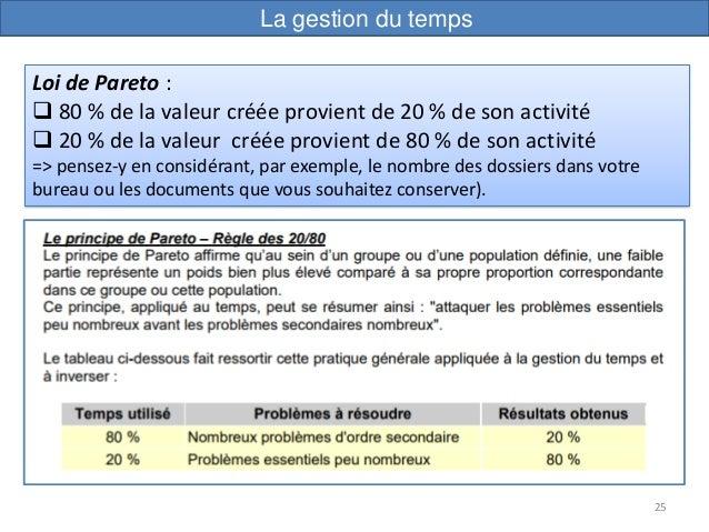 25 Loi de Pareto :  80 % de la valeur créée provient de 20 % de son activité  20 % de la valeur créée provient de 80 % d...