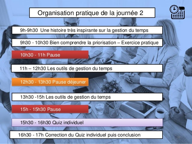 Organisation pratique de la journée 2 9h-9h30 Une histoire très inspirante sur la gestion du temps 9h30 - 10h30 Bien compr...