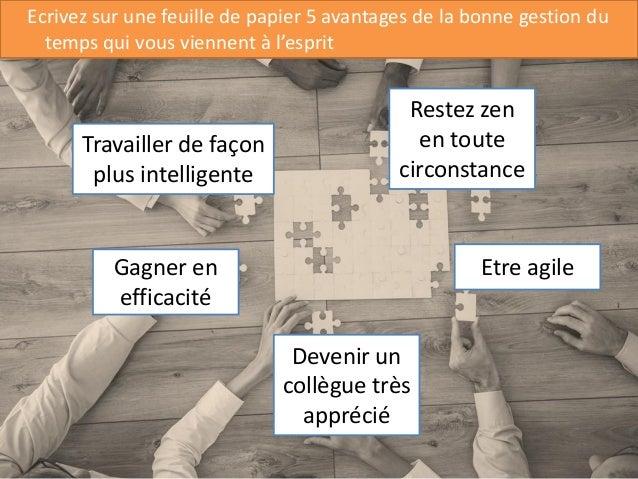 7 Ecrivez sur une feuille de papier 5 avantages de la bonne gestion du temps qui vous viennent à l'esprit Travailler de fa...