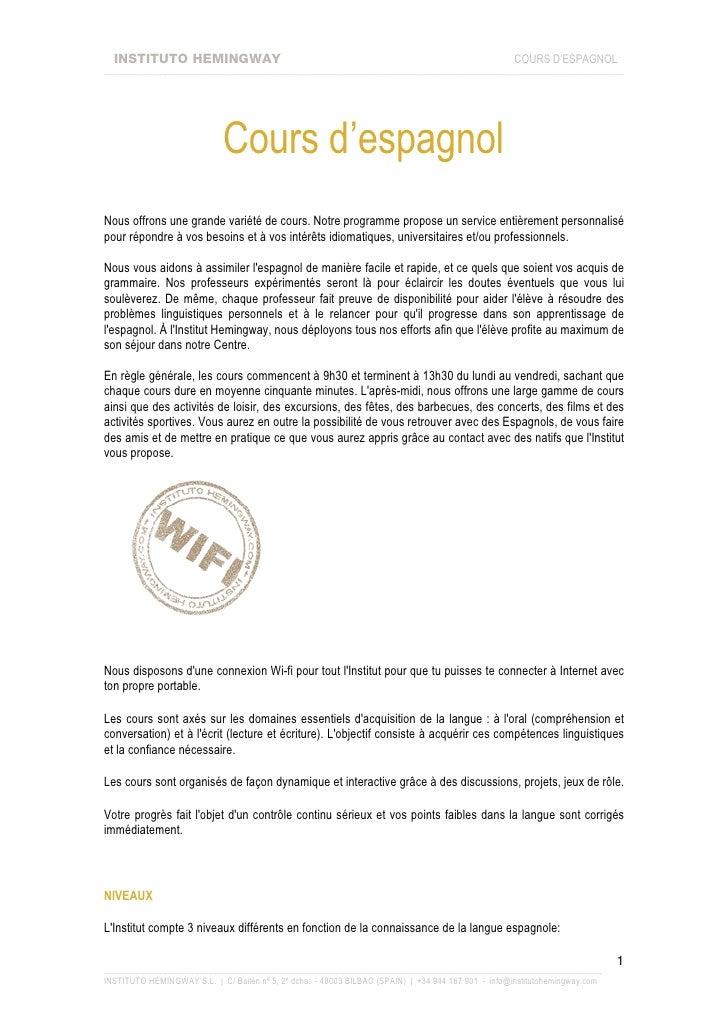 INSTITUTO HEMINGWAY                                                                               COURS D'ESPAGNOL _______...