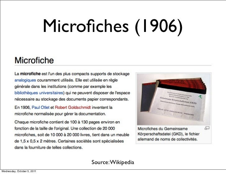 Microfiches (1906)                                  Source: WikipediaWednesday, October 5, 2011