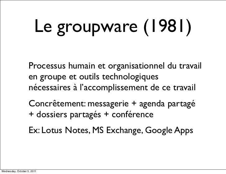 Le groupware (1981)                    Processus humain et organisationnel du travail                    en groupe et outi...