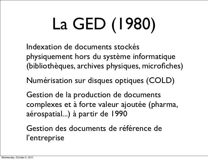 La GED (1980)                    Indexation de documents stockés                    physiquement hors du système informati...