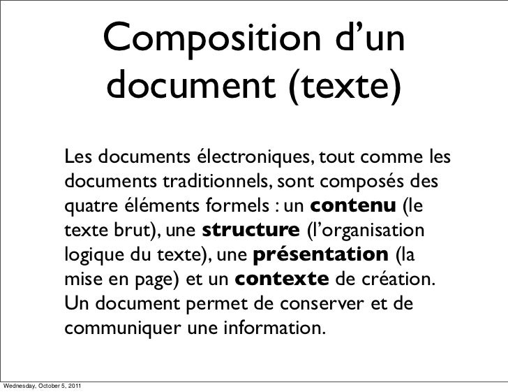 Composition d'un                             document (texte)                    Les documents électroniques, tout comme l...