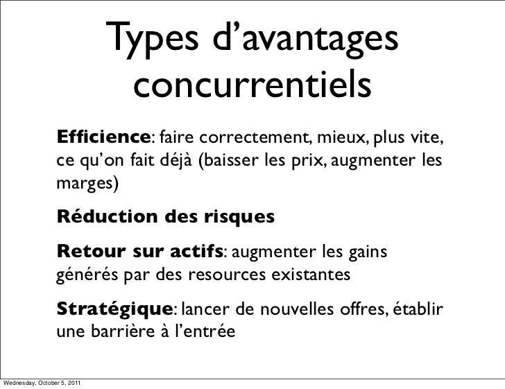 Types d'avantages                              concurrentiels                 Efficience: faire correctement, mieux, plus v...
