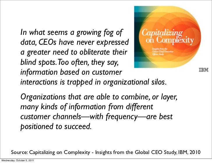In what seems a growing fog of               data, CEOs have never expressed               a greater need to obliterate th...