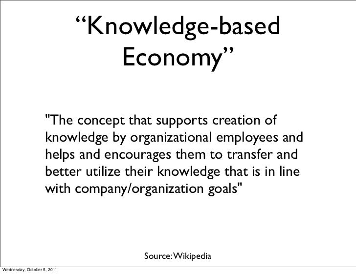 """""""Knowledge-based                                Economy""""                    """"The concept that supports creation of        ..."""