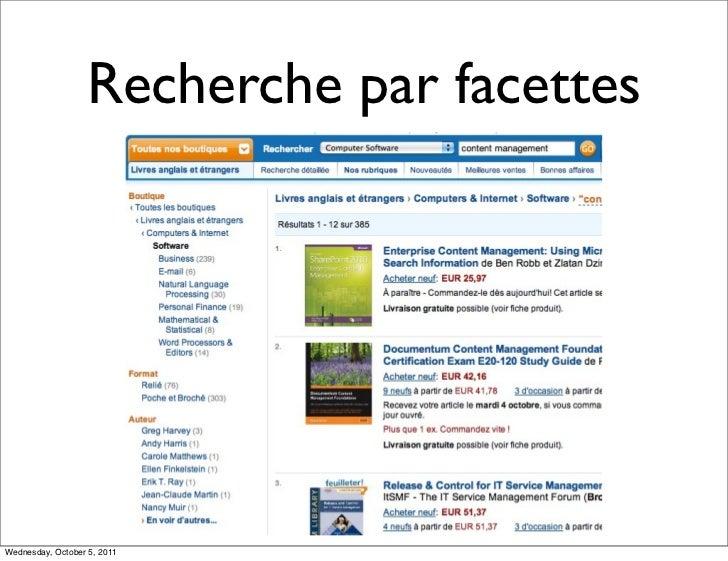 Recherche par facettesWednesday, October 5, 2011