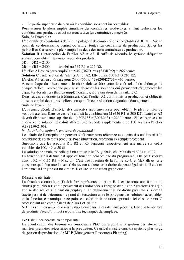 B. TIGUINT  Gestion Budgétaire  - La partie supérieure du plan où les combinaisons sont inacceptables. Pour assurer le ple...