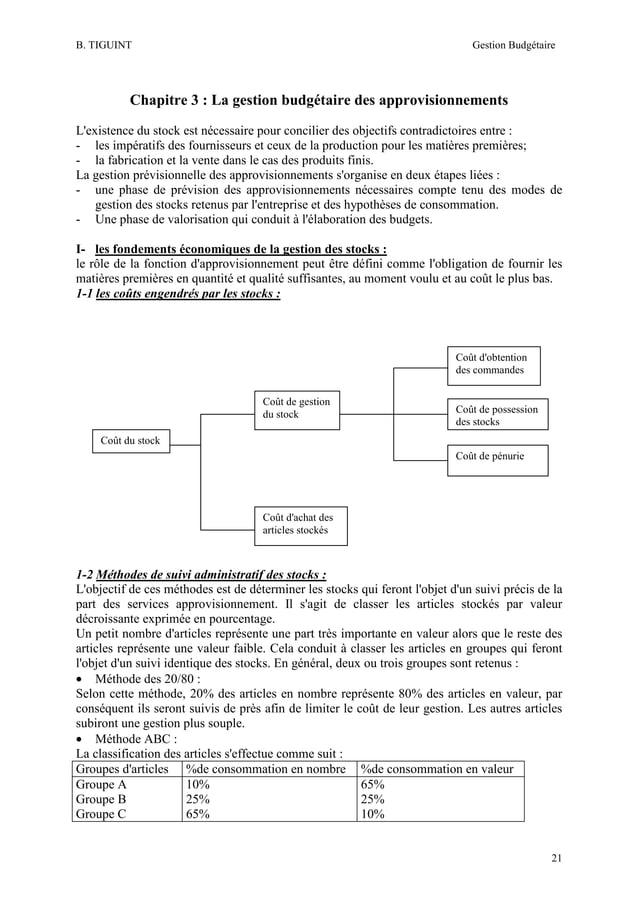 B. TIGUINT  Gestion Budgétaire  Chapitre 3 : La gestion budgétaire des approvisionnements L'existence du stock est nécessa...