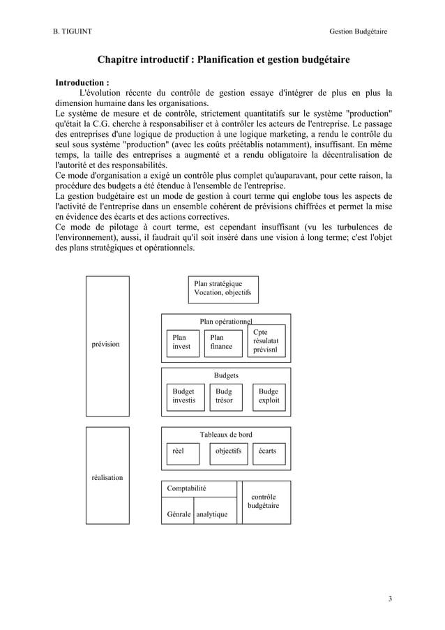 B. TIGUINT  Gestion Budgétaire  Chapitre introductif : Planification et gestion budgétaire Introduction : L'évolution réce...