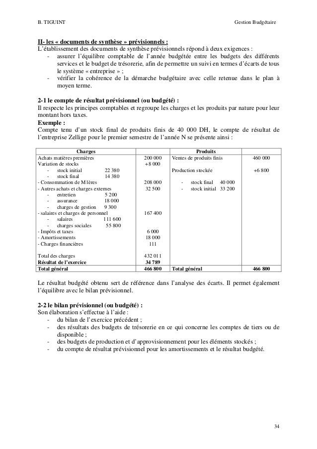 B. TIGUINT  Gestion Budgétaire  II- les « documents de synthèse » prévisionnels : L'établissement des documents de synthès...