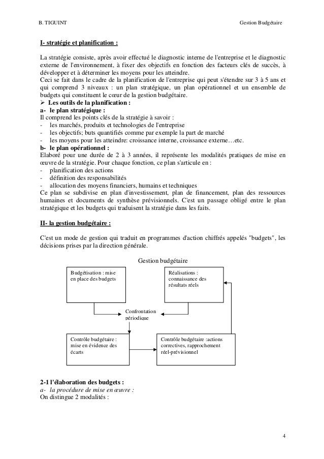 B. TIGUINT  Gestion Budgétaire  I- stratégie et planification : La stratégie consiste, après avoir effectué le diagnostic ...