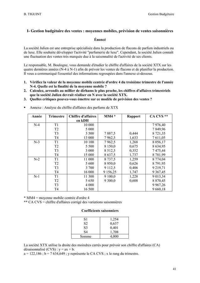 B. TIGUINT  Gestion Budgétaire  I- Gestion budgétaire des ventes : moyennes mobiles, prévision de ventes saisonnières Énon...