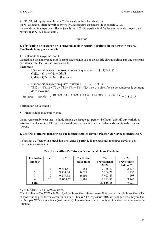 B. TIGUINT  Gestion Budgétaire  S1, S2, S3, S4 représentent les coefficients saisonniers des trimestres. En N, la société ...