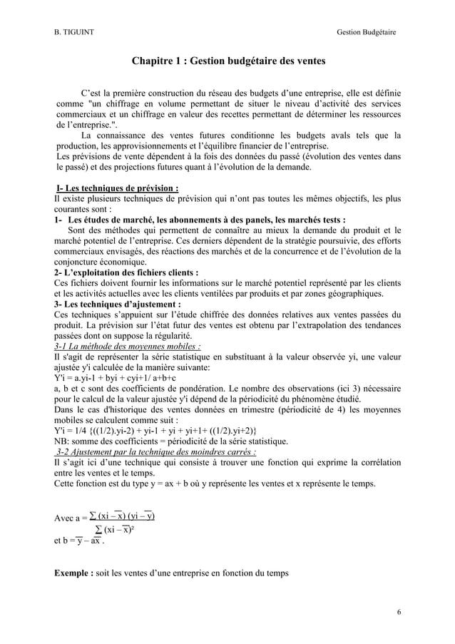 B. TIGUINT  Gestion Budgétaire  Chapitre 1 : Gestion budgétaire des ventes C'est la première construction du réseau des bu...