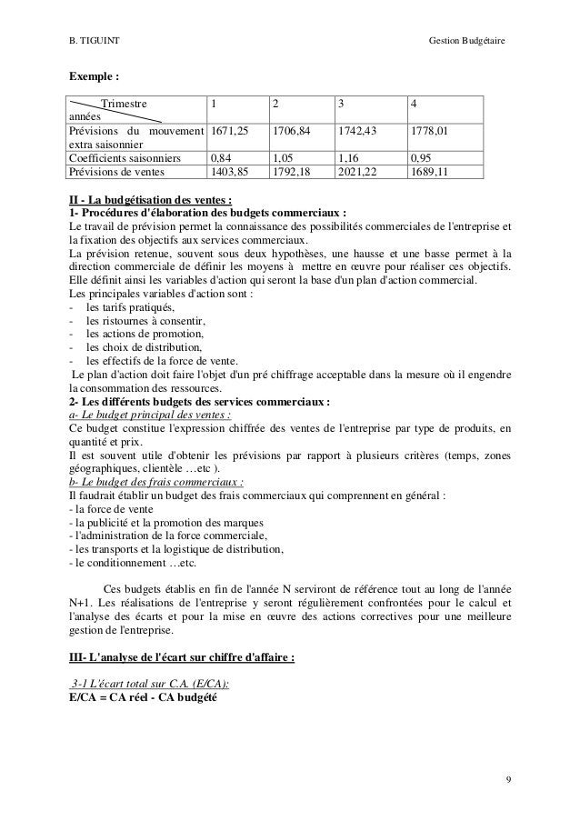 B. TIGUINT  Gestion Budgétaire  Exemple : Trimestre années Prévisions du mouvement extra saisonnier Coefficients saisonnie...