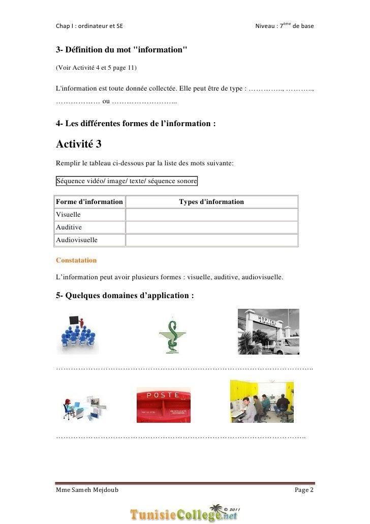 """Chap I : ordinateur et SE                                           Niveau : 7ème de base3- Définition du mot """"information..."""