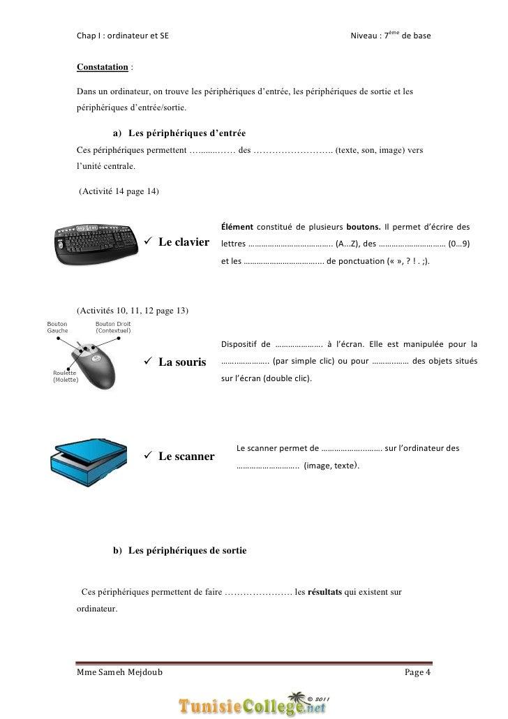 Chap I : ordinateur et SE                                                 Niveau : 7ème de baseConstatation :Dans un ordin...