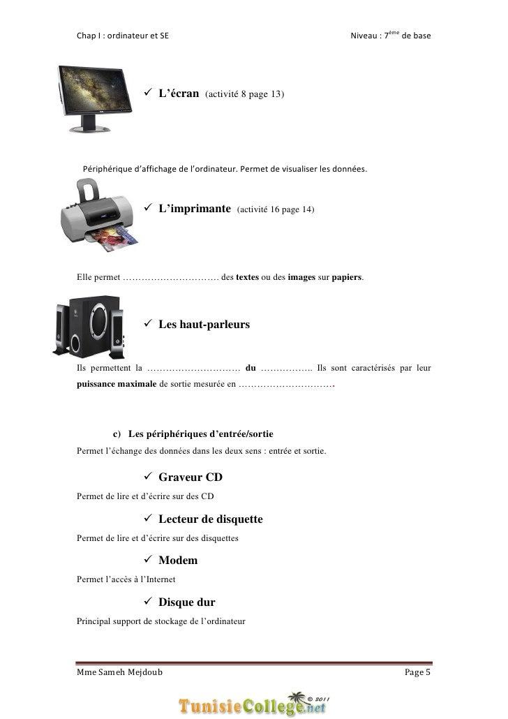 Chap I : ordinateur et SE                                              Niveau : 7ème de base                   L'écran (a...