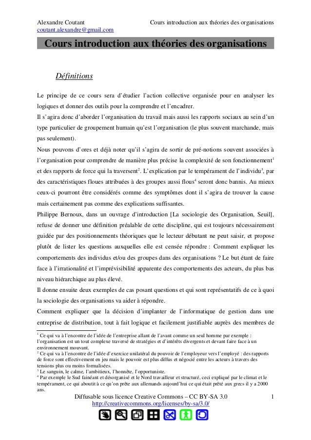 Alexandre Coutant Cours introduction aux théories des organisationscoutant.alexandre@gmail.comCours introduction aux théor...