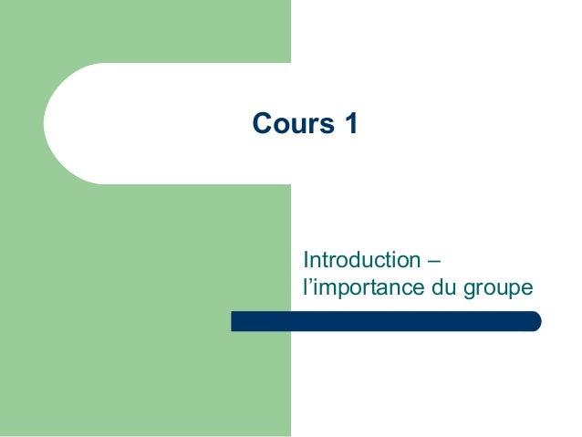 Cours 1 Introduction – l'importance du groupe