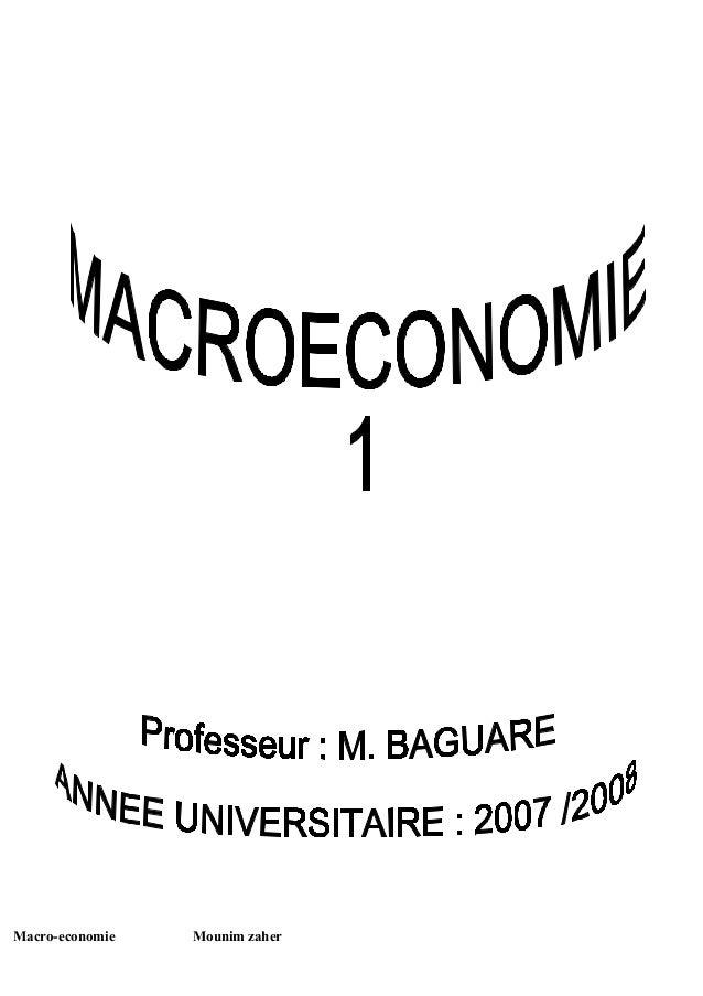 Macro-economie   Mounim zaher