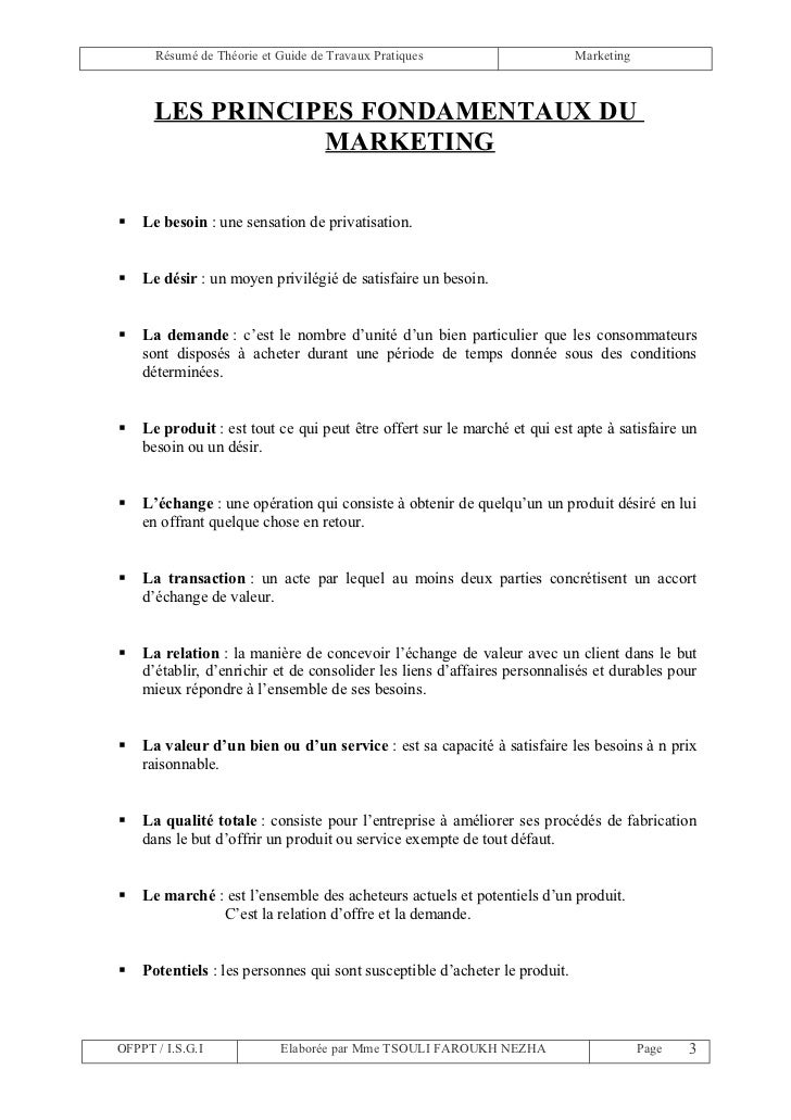 Résumé de Théorie et Guide de Travaux Pratiques                       Marketing      LES PRINCIPES FONDAMENTAUX DU        ...